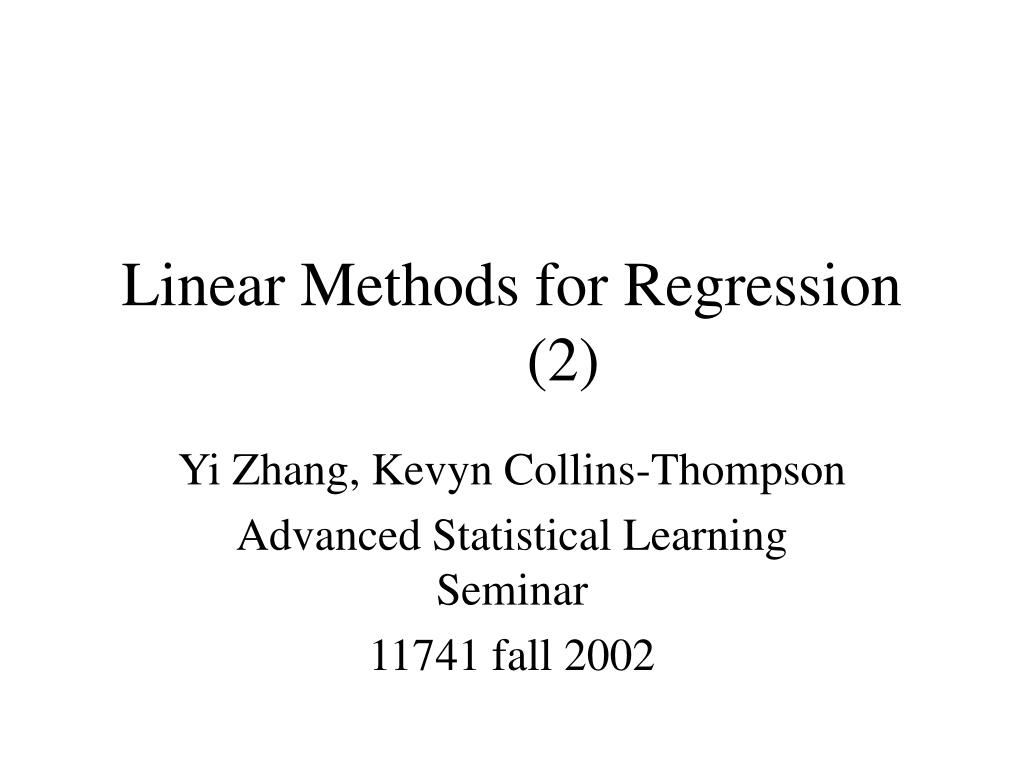 linear methods for regression 2 l.