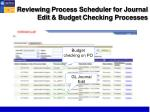 reviewing process scheduler for journal edit budget checking processes