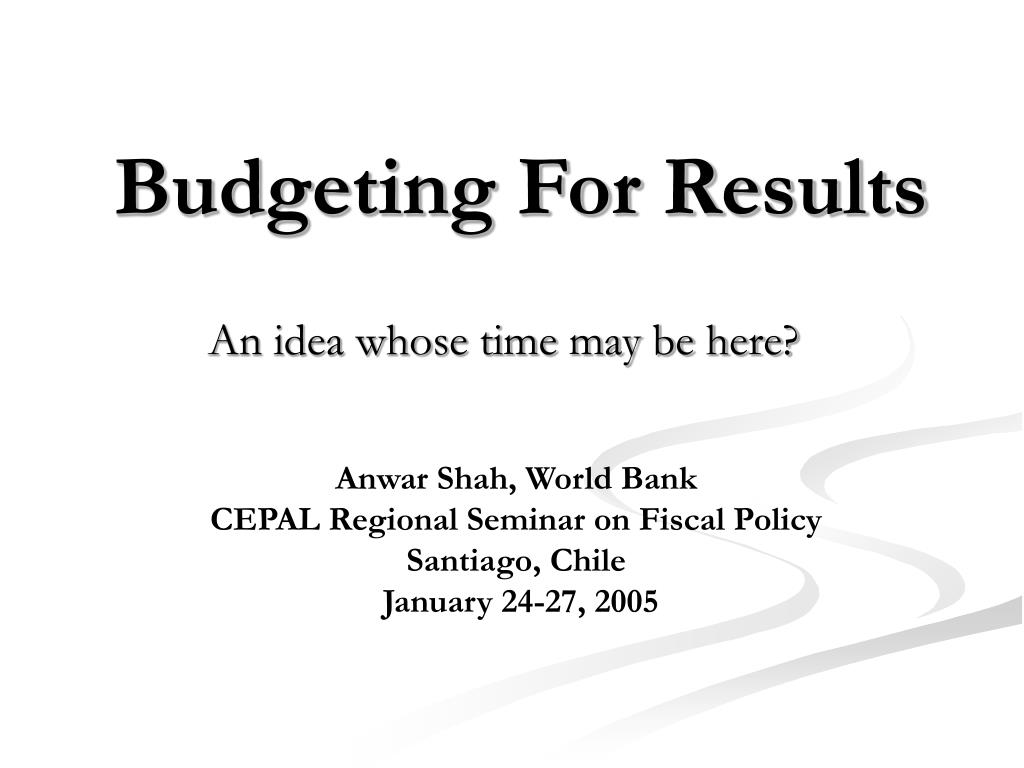 budgeting for results l.
