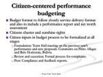 citizen centered performance budgeting