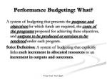 performance budgeting what4