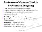 performance measures used in performance budgeting