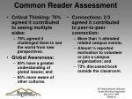 common reader assessment