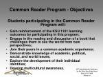 common reader program objectives