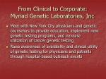 from clinical to corporate myriad genetic laboratories inc