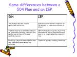 some differences between a 504 plan and an iep