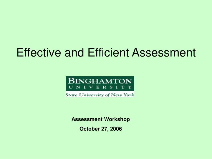 effective and efficient assessment n.