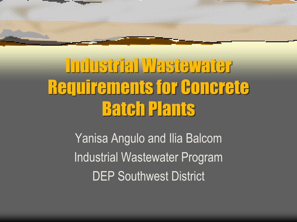 industrial wastewater requirements for concrete batch plants l.