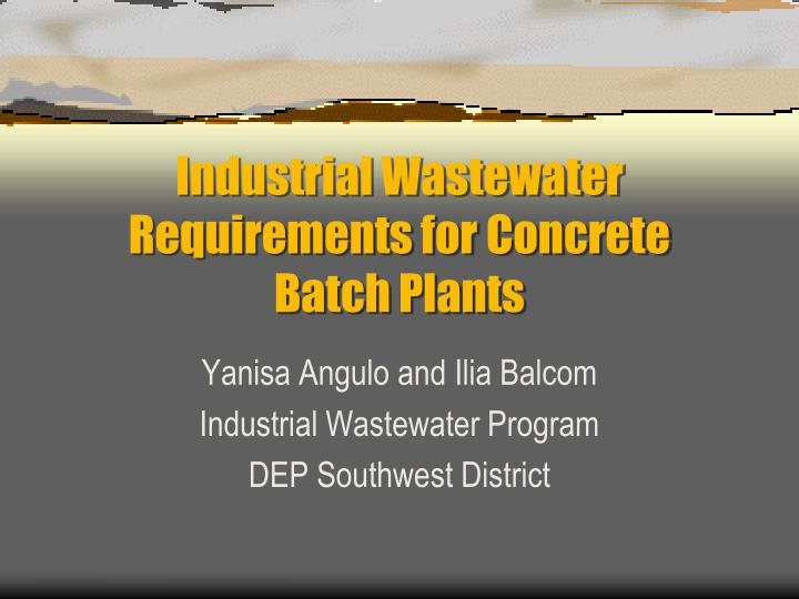 industrial wastewater requirements for concrete batch plants n.