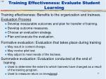 training effectiveness evaluate student learning