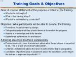 training goals objectives