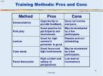 training methods pros and cons