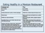 eating healthy in a mexican restaurant