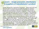levers large procurers distributors suppliers of manufacturer s product