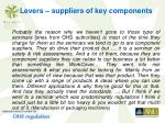 levers suppliers of key components