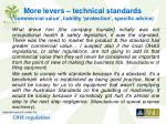 more levers technical standards commercial value liability protection specific advice