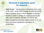 rationale legislative basis for research
