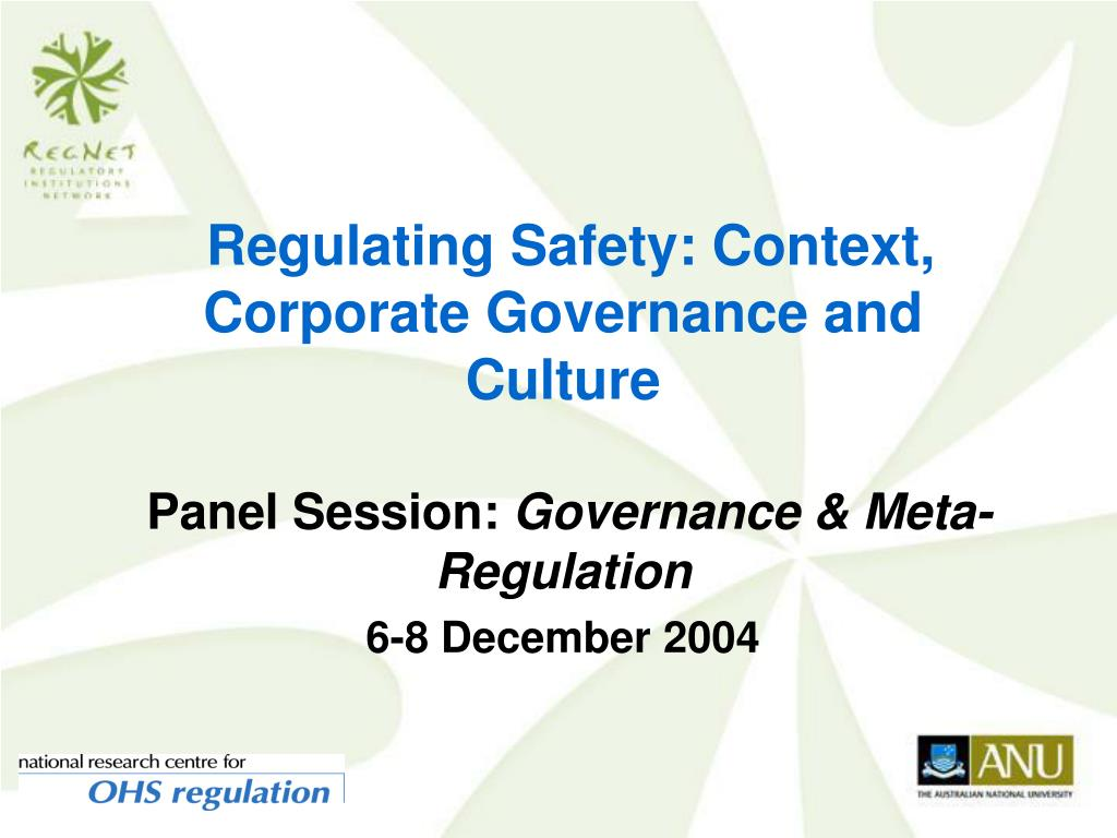 regulating safety context corporate governance and culture l.