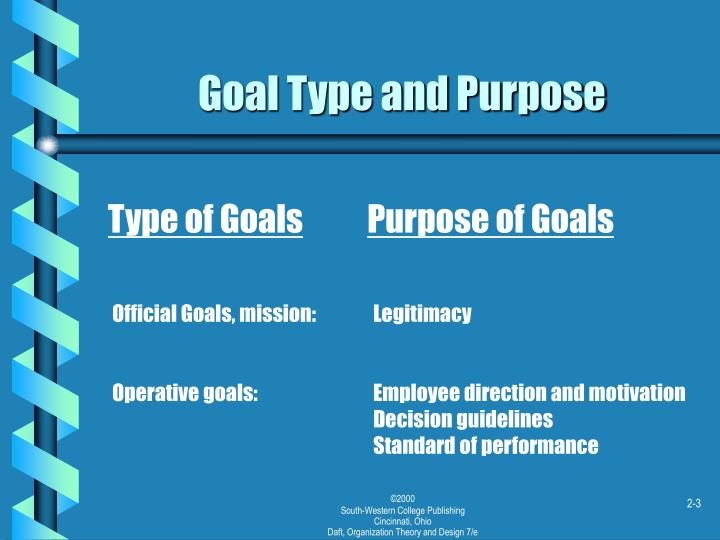 Goal type and purpose