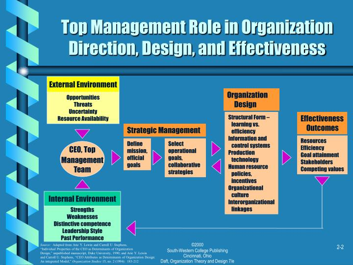 Top management role in organization direction design and effectiveness