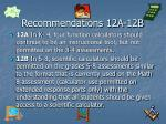 recommendations 12a 12b