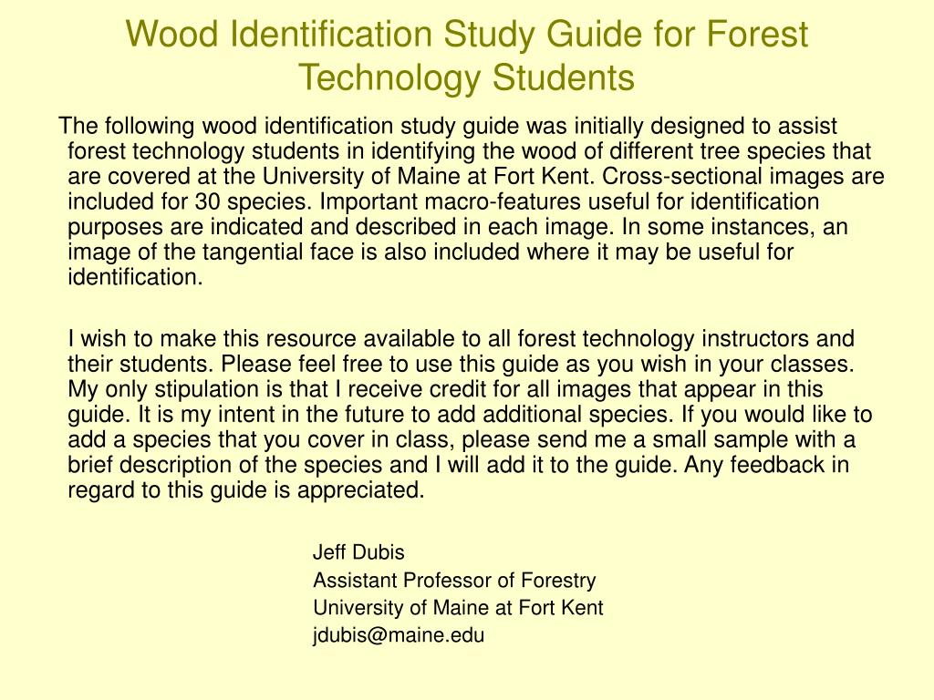 wood identification study guide for forest technology students l.