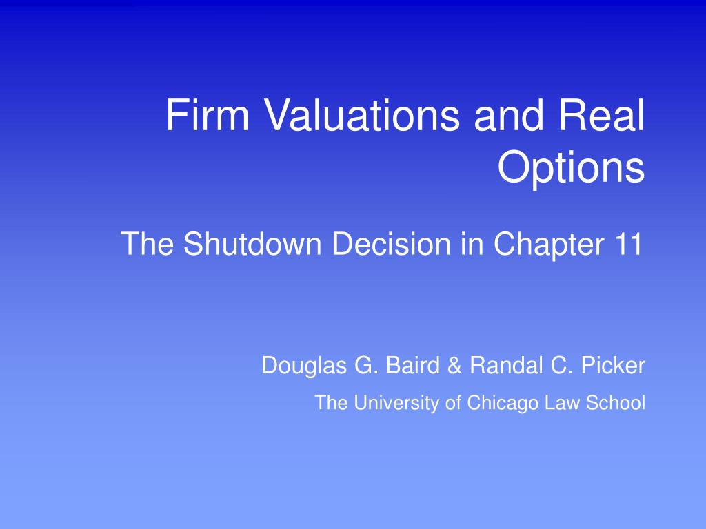 firm valuations and real options l.