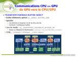 communications cpu gpu du gpu vers le cpu gpu