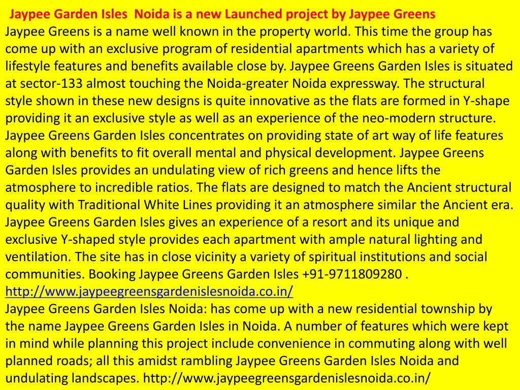 Jaypee Garden Isles  Noida is a new Launched project by Jaypee Greens