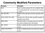 commonly modified parameters