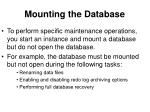 mounting the database