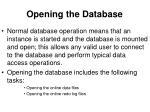 opening the database