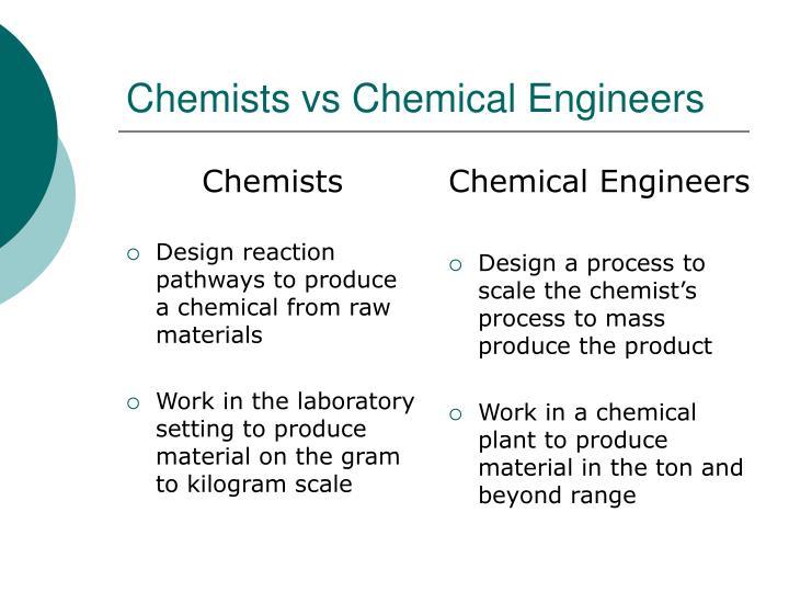 Chemists vs chemical engineers