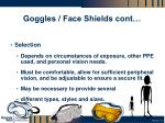 goggles face shields cont
