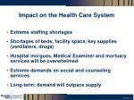 impact on the health care system