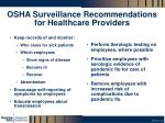osha surveillance recommendations for healthcare providers
