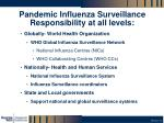 pandemic influenza surveillance responsibility at all levels