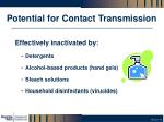 potential for contact transmission
