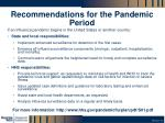 recommendations for the pandemic period