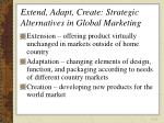 extend adapt create strategic alternatives in global marketing