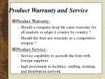 product warranty and service