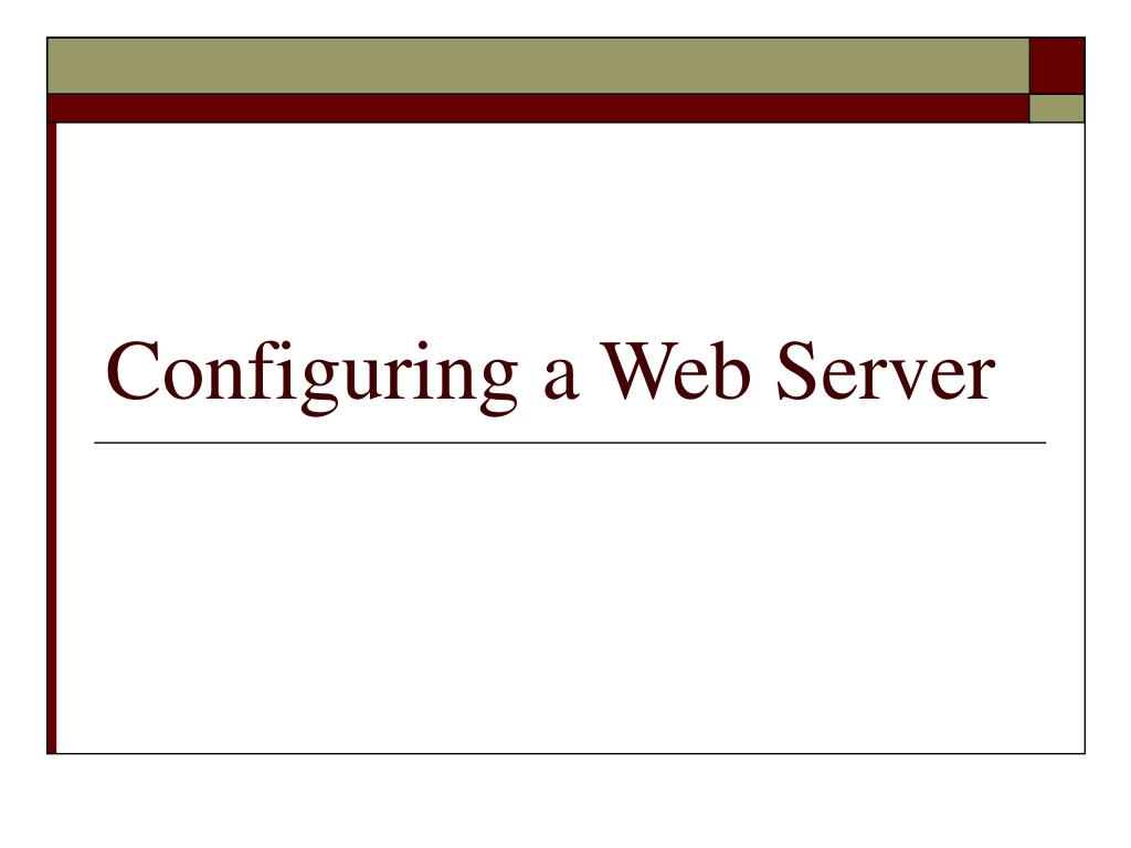 configuring a web server l.