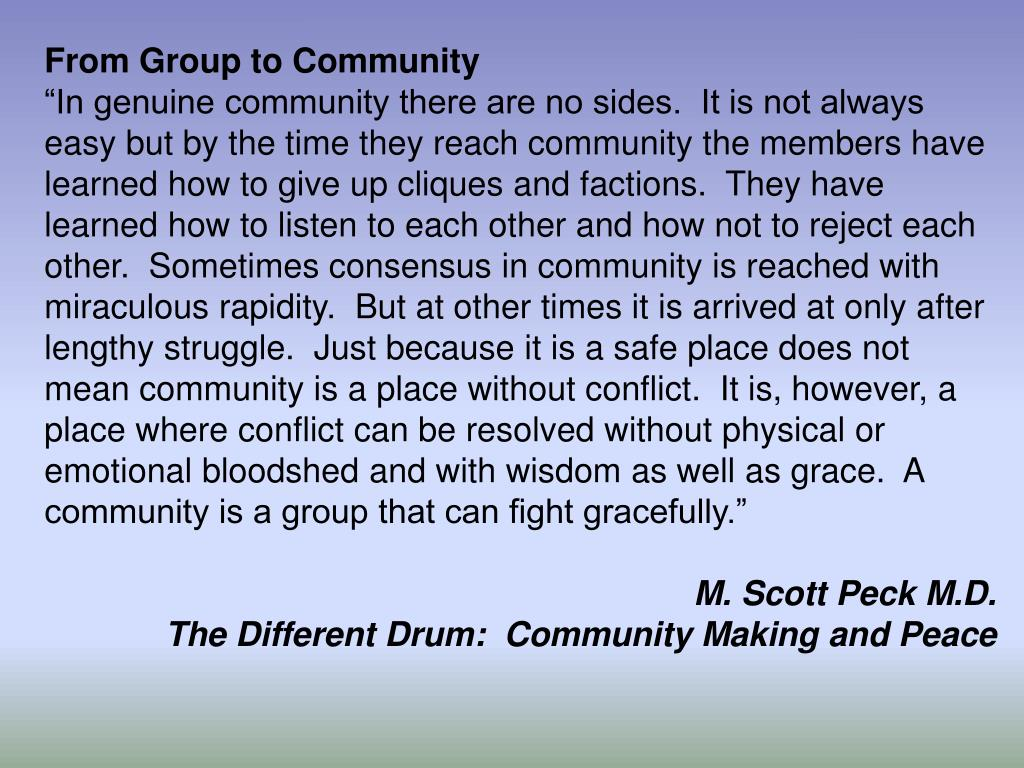 From Group to Community