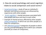 1 how do social psychology and social cognition relate to social comparison and social norms