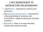 5 key ingredients to satisfactory relationships