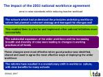 the impact of the 2003 national workforce agreement
