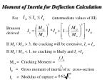 moment of inertia for deflection calculation