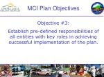 mci plan objectives9