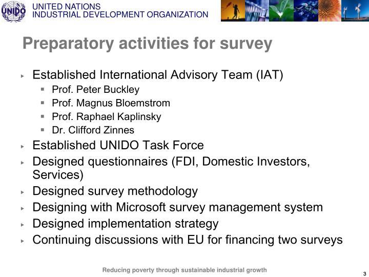 Preparatory activities for survey
