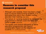 reasons to consider this research proposal